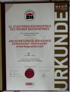 Urkunde Stadterneuerungspreis 2017 2. Platz