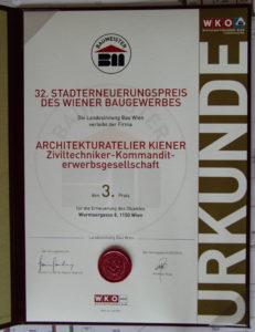 Urkunde 32. Stadterneuerungspreis 2017